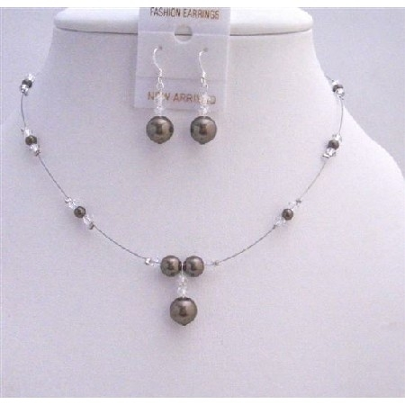 Brd007 Bridal Party Gifts Dark Brown Pearls with Clear Crystals Beads Set