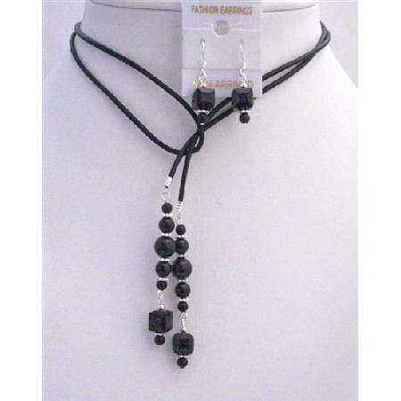 Nsc785 Black Pearls Crystals Leather Lariat Necklace Jet Crystal Necklace Set 56428d06a3771c8b708b4a5b