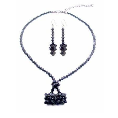 Nsc550 Jet Crystals Purse Necklace Set Swarovski Purse Handmade Jewelry Set photo