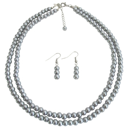 Ns1356 Bridal Pearl Jewelry Set Lite Gray Double Strand Earrings Set