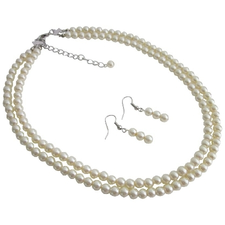 Ns1108 Shop For Party Favors Ivory Double Stranded Necklace Set