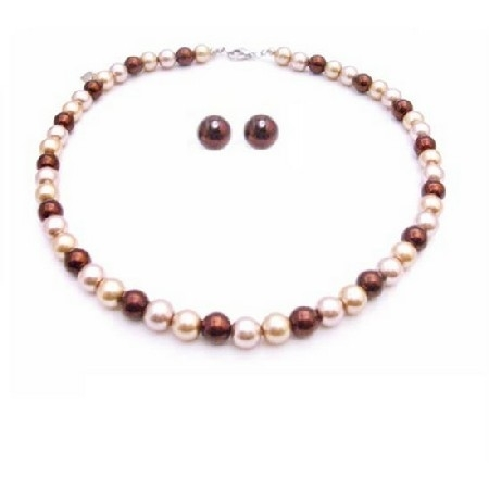Ns881 Multicolor Pearls Stud Earrings Necklace Set Prom Gift Jewelry Set