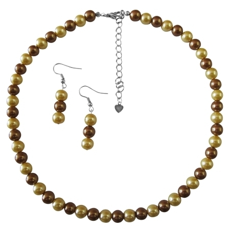Ns735 Wedding Latte Dress Jewelry Pearls Latte Pearls and Yellow Pearl Necklace Unbeatable Inexpensive Jewelry