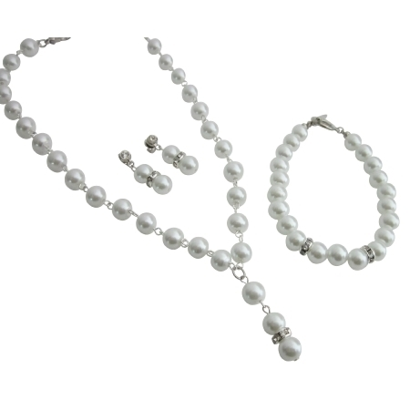 Ns1096 Bridesmaid Necklace Earrings Set Maid Of Honor White Complete Jewelry