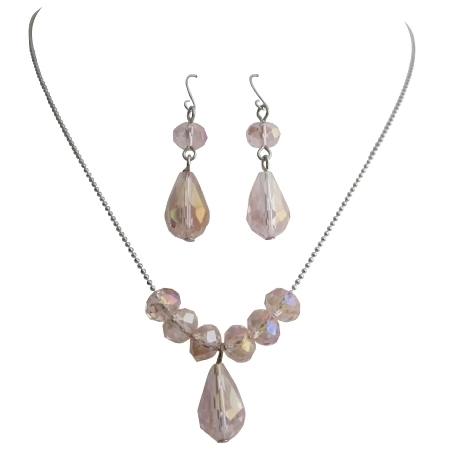 Uns144 Girl Modern Handmade Beaded Jewelry Peach Crystals Necklace Set