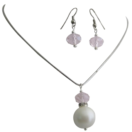 Uns101 Sophisticated Lustrous White Pearls Rose Crystals Wedding Jewelry