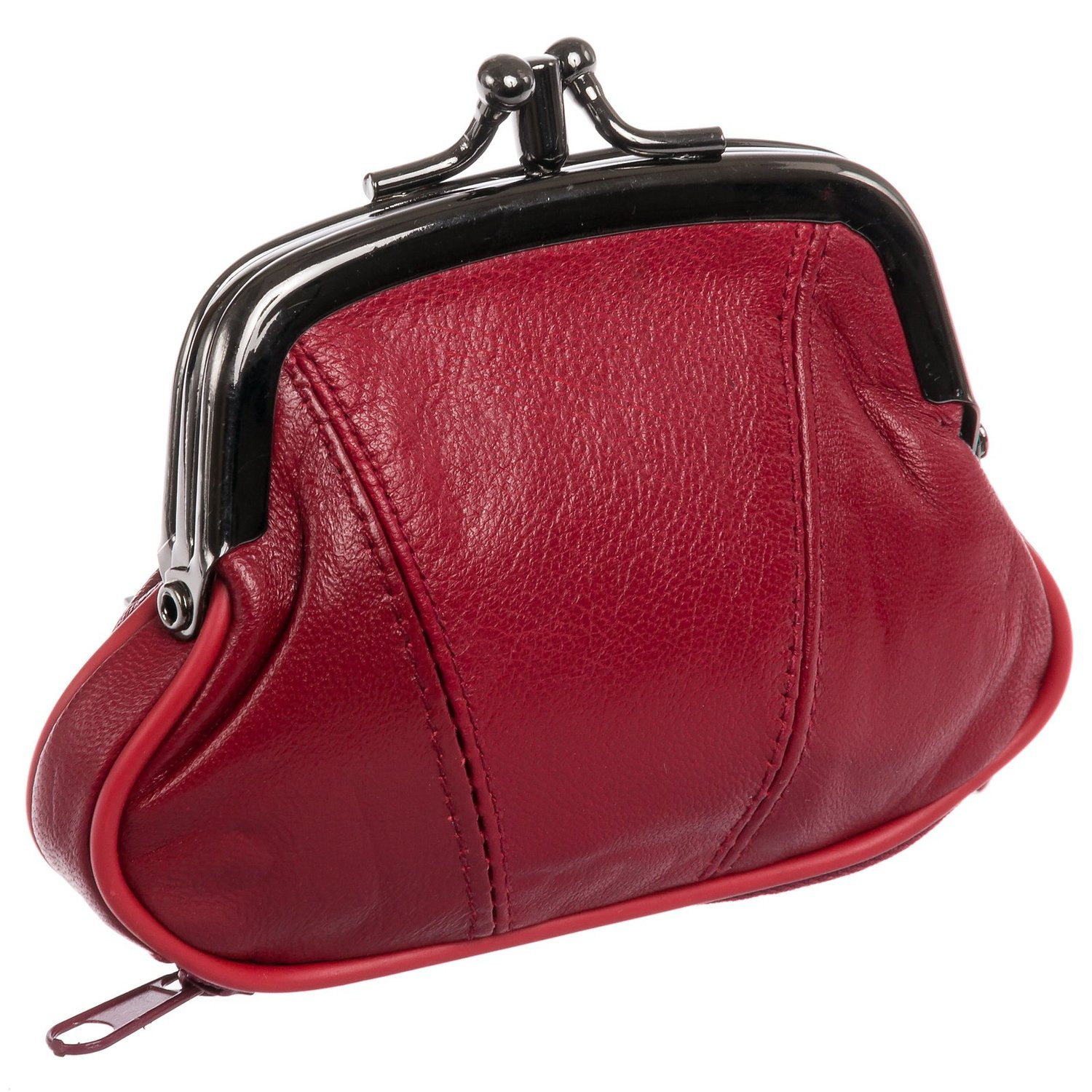 Genuine Leather Change Purse - Black (CA-K-03A-TAN) photo