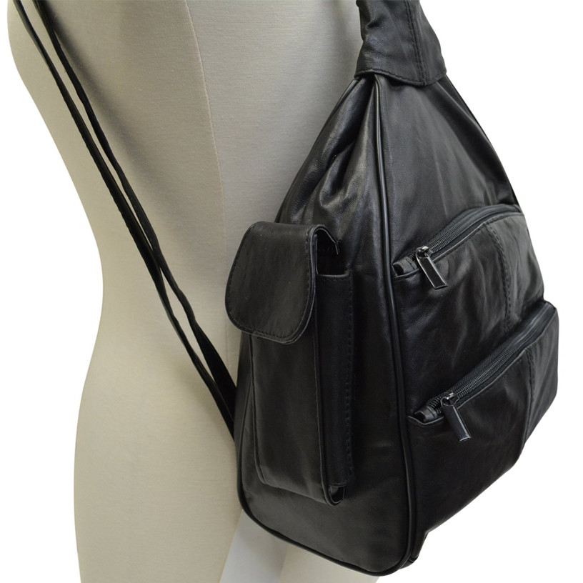 Leather Zippered Backpack Cross Body Style Purse (AFONiE) photo