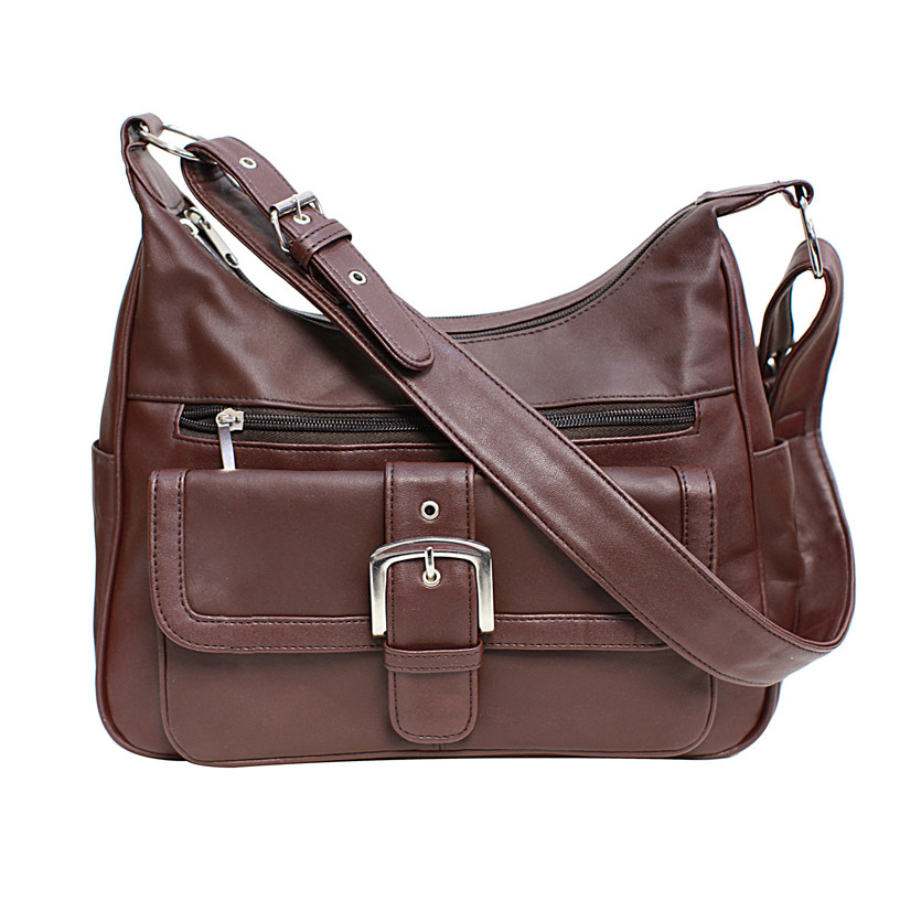 Soft Leather Buckle Accent Classic Brown Purse - Brown (CA-W-088Brown) photo