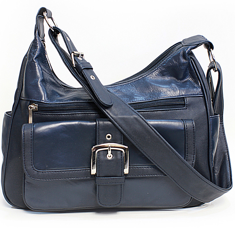 Soft Leather Buckle Accent Classic Blue Purse - Blue (CA-W088 -BUR) photo
