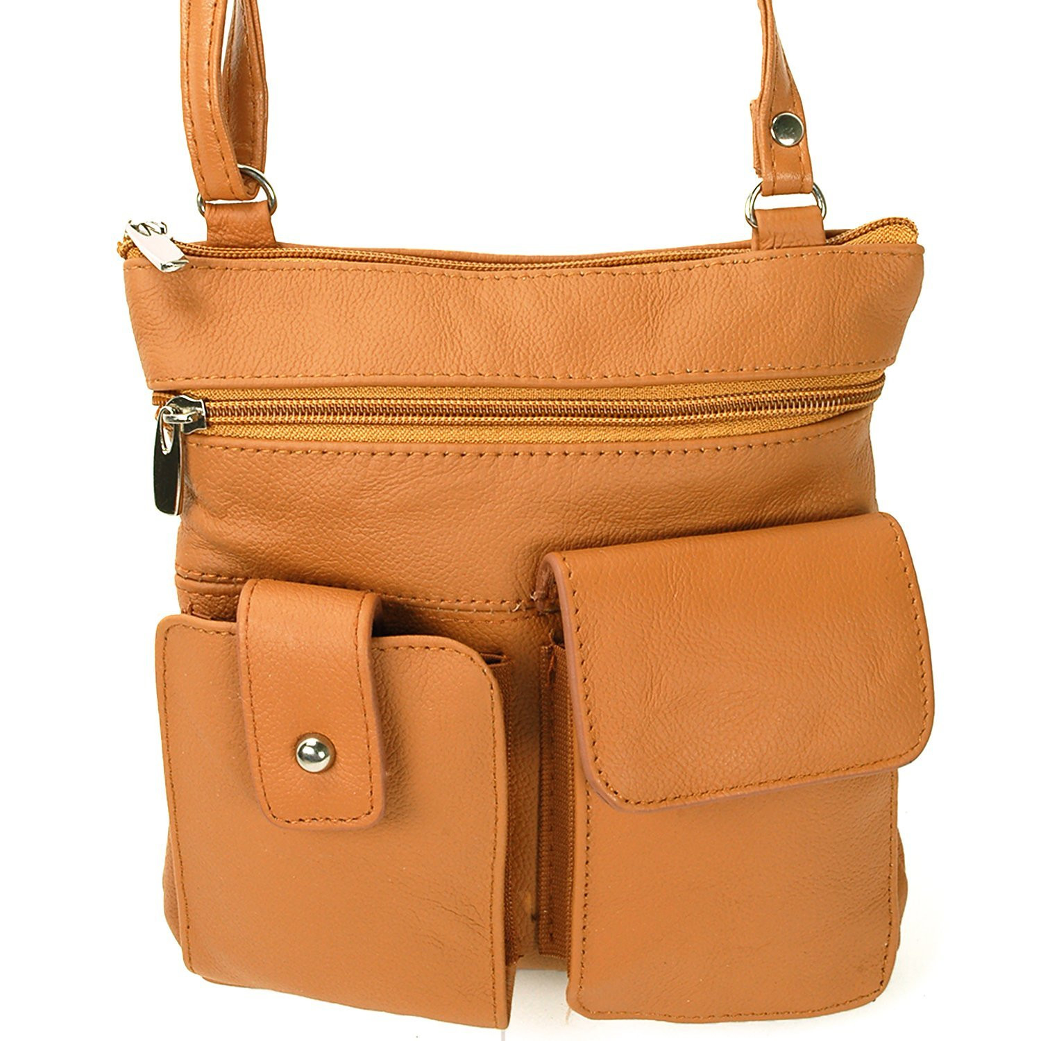 Soft Leather Two Front Purse Tan Color Cross-body Style - Black (CH-028-TAN-01) photo
