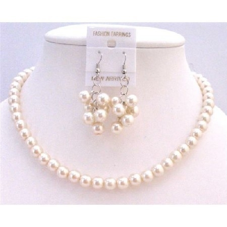 Handcrafted 8mm Ivory Pearls Necklace Earrings Jewelry Set In USA – Ivory