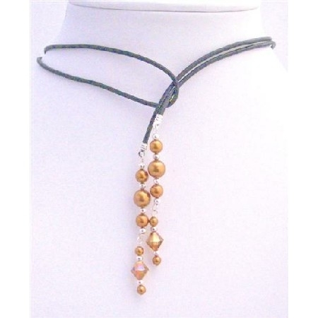 Swarovski Copper Pearl Lariat Necklace & Swarovski Copper Crystals w/ Silver Beads Spacer Necklace 547777267aaaaaeb48000031