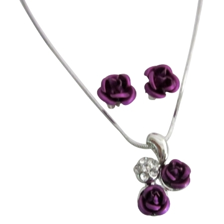 Gift Holiday Special Offer Jewelry Gifts Purple Rose Pendant Set