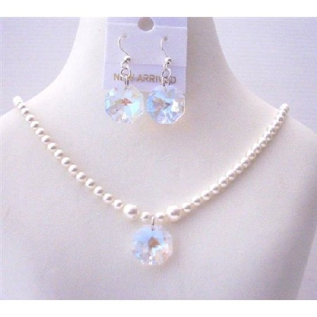 White Pearls Swarovski Flower Girl Jewelry AB Crystals Octagon Earring