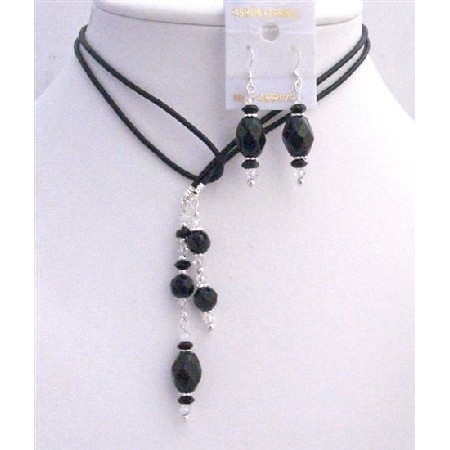 Leather Lariat Necklace & Necklace Black Briollete Clear Crystals Set 536adc1fb1f9647b41000055