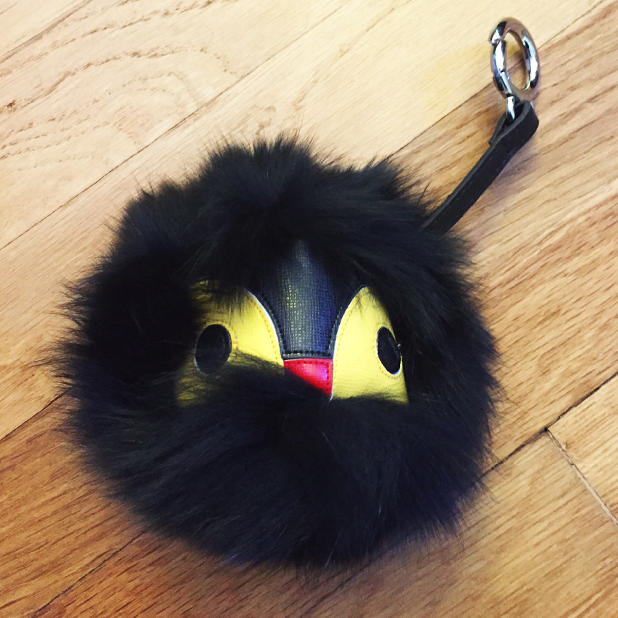 Mink & Wool Designer Fur Bugs for your Purse or Handbag (Women's Designer Bag Charms) - Black/Yellow (3D Luxe) photo