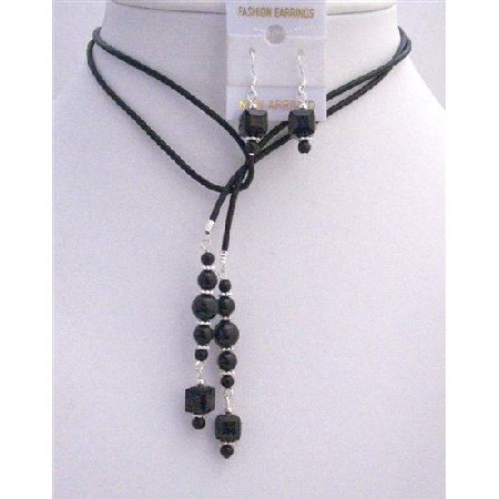 Black Pearls Crystals Leather Lariat Necklacev Jet Crystal Necklace Earrings Set  In USA 566e830b903d6f40178b4ec4