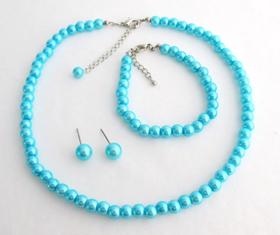 Turquoise Blue Pearl Necklace Set Turquoise Necklce Earring Bracelet Set Great Flower Girl Brides or Bridesmaid Gifts