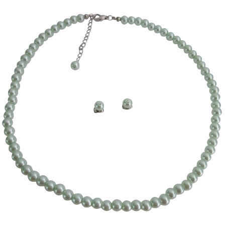 Flower Girls Jewelry Junior Bridesmaid Jewelry In Lite Green Pearls In USA
