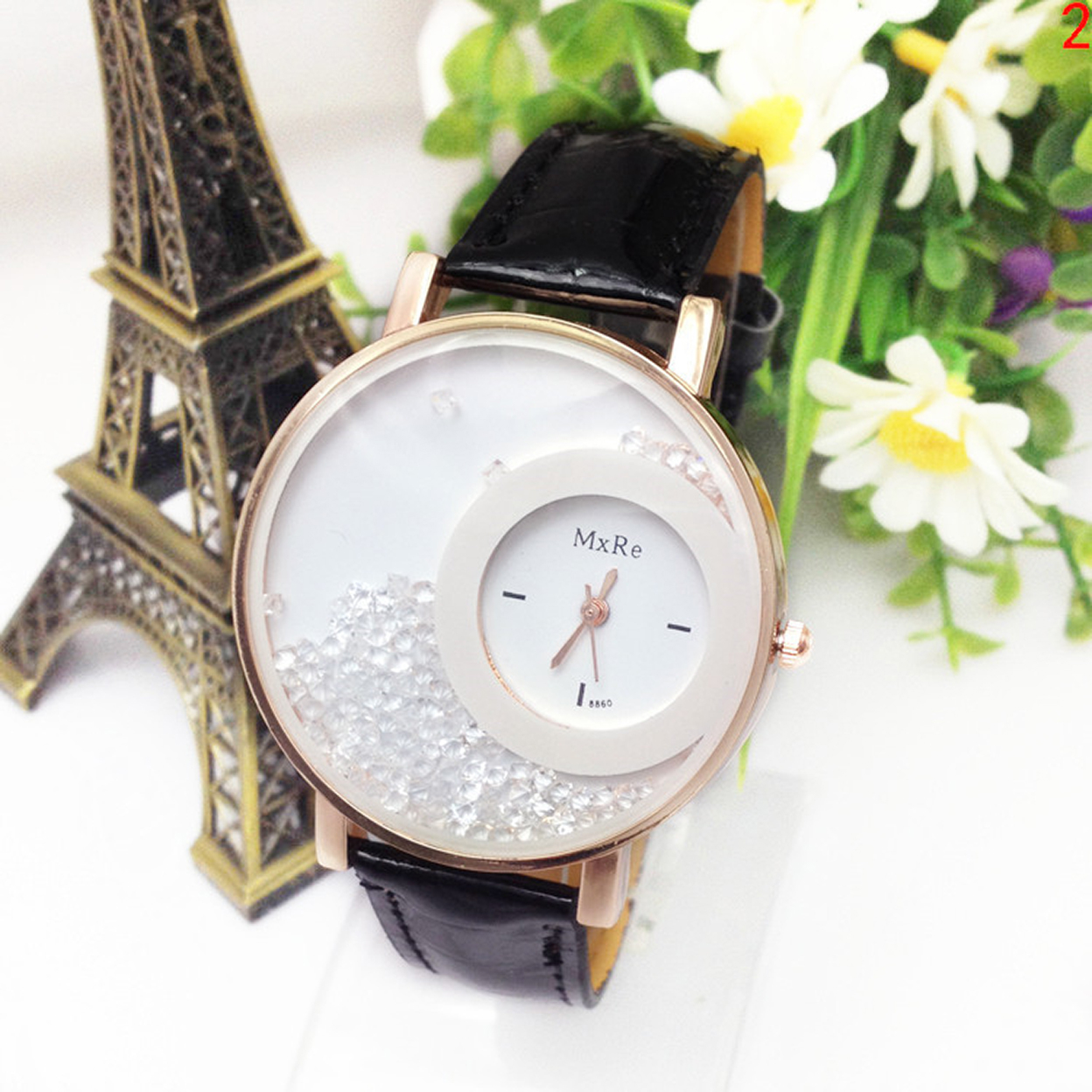 Trendy Fashion Watch With Moving Crystals Comes In 8 Different Colors - Black 56a069f84e3d6fd56f8b4601