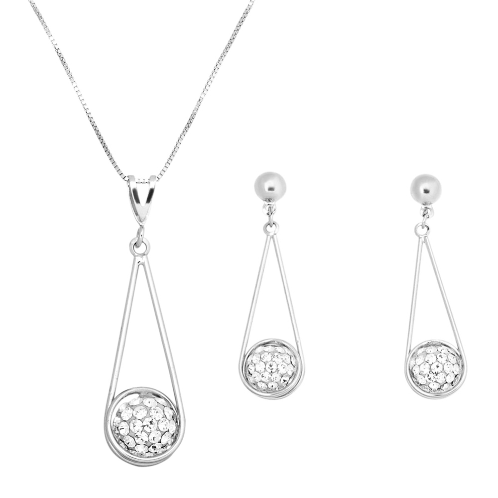 Rhodium_Plated_Wire_Teardrop_Crystal_Ball_Necklace_and_Earrings_Set