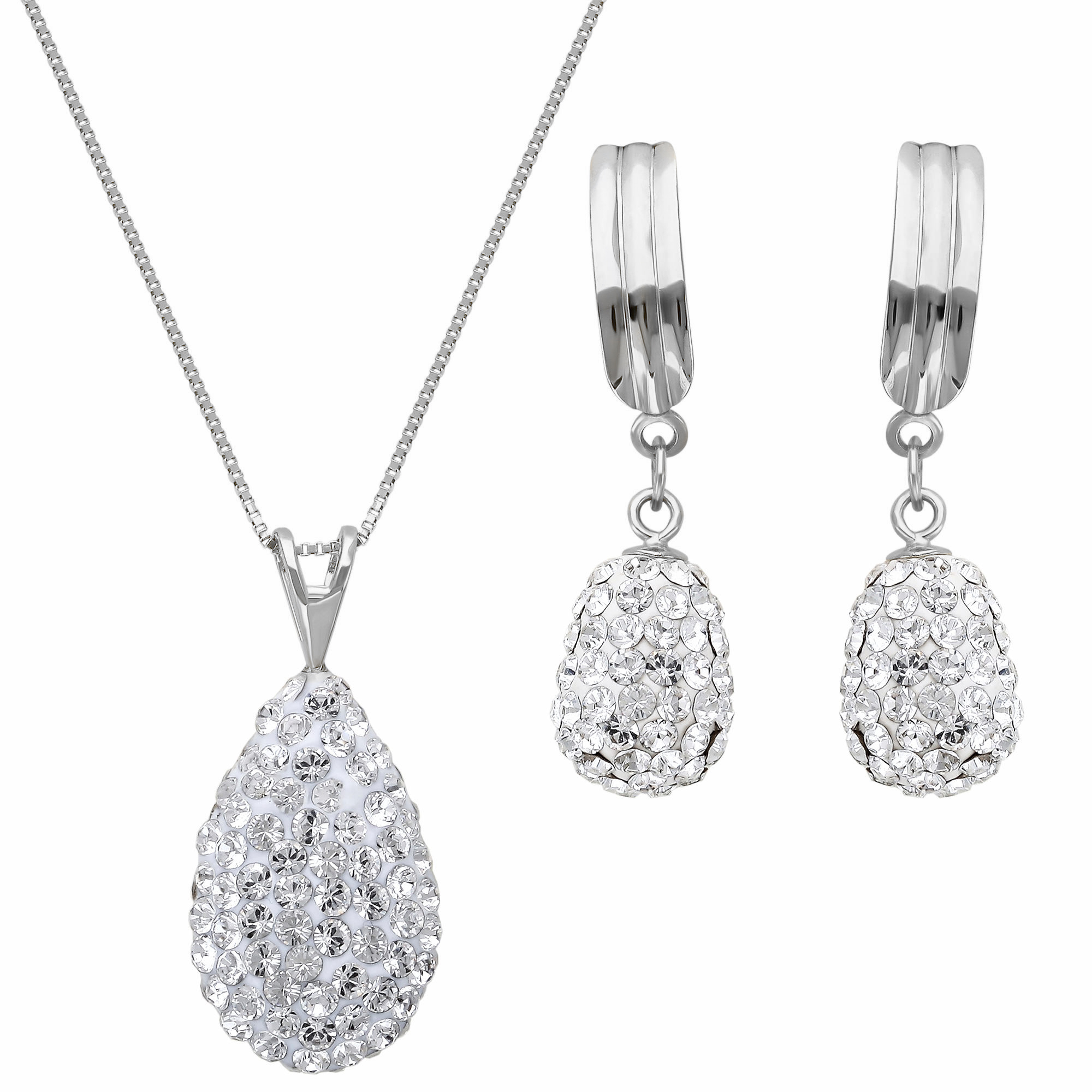 Rhodium_Plated_Puffed_Teardrop_Crystal_Necklace_and_Earrings_Set