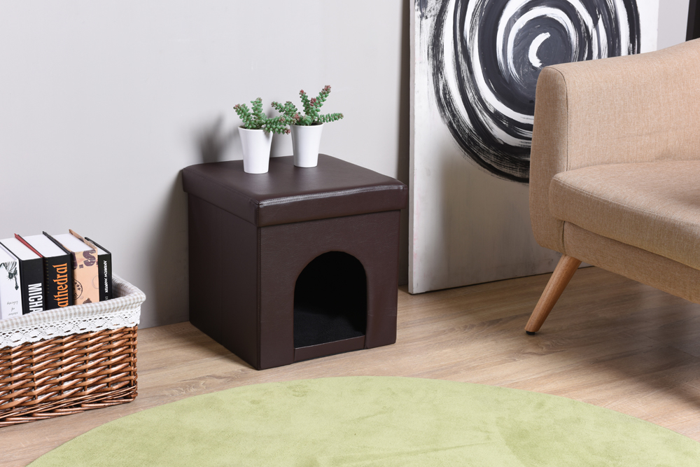 "15"" Foldable Pet Ottoman - Brown"