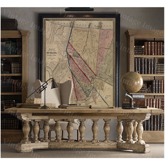 """Vintage Map New Orleans Map Louisiana Historic Restoration Style Map of New Orleans Fine Art Print Large wall map Home office coporate decor - 16\"""" x 20\"""" inches [$17.44]"""