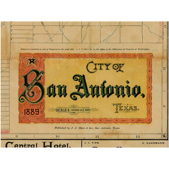 "San Antonio Texas map vintage 1889 old map of San Antonio Antique Restoration Hardware Style San Antonio wall Map Fine Map Art Wall decor - 12"" x 12\"" inches [$17.00]"