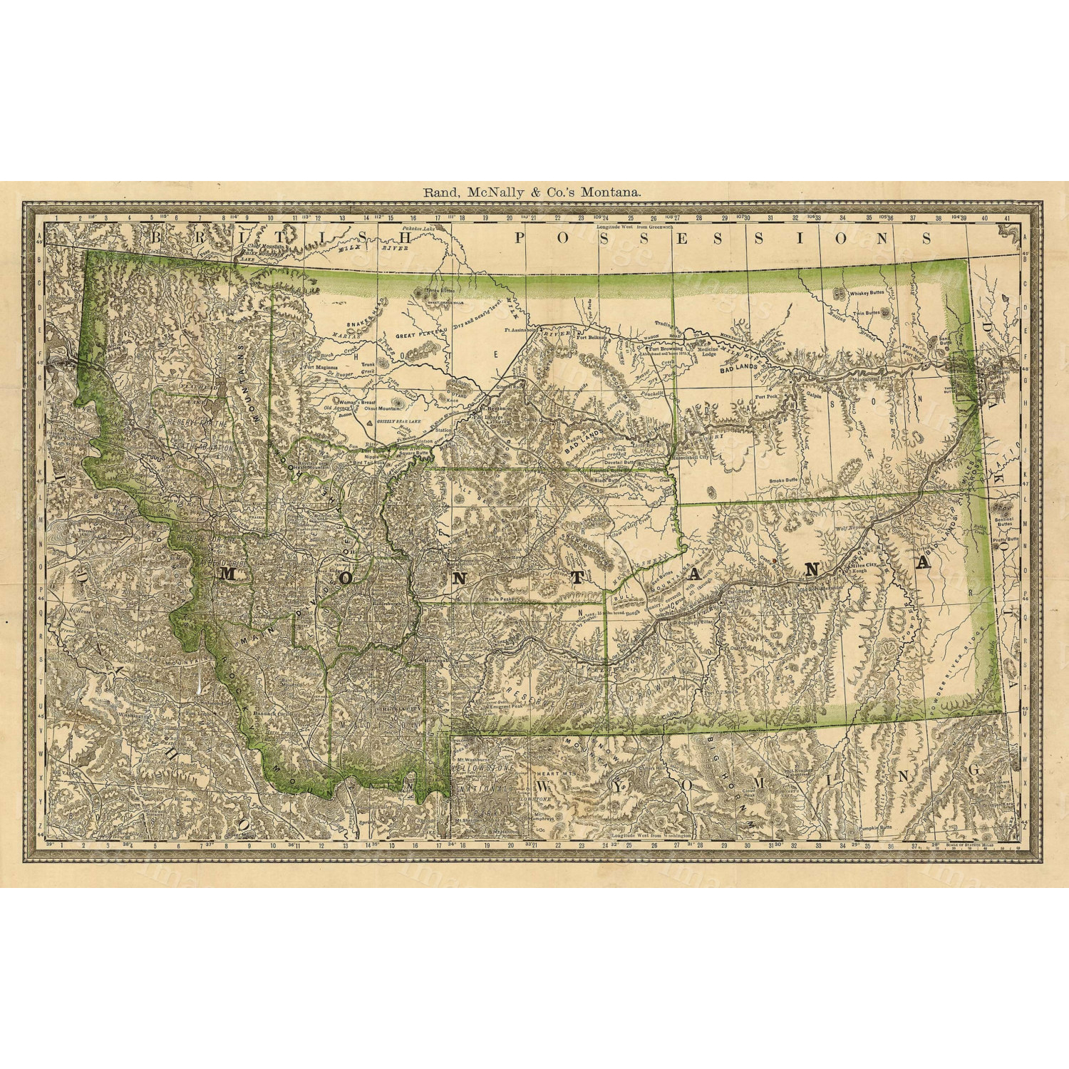 """Montana ART Map of Montana 1881 Antique Restoration Hardware Style Montana Wall map Vintage Montana state map wall art home office decor - 16\"""" x 20\"""" inches [$17.00]"""