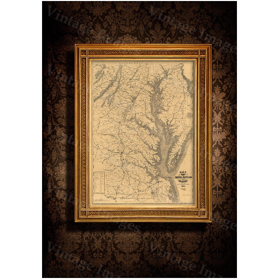 "Chesapeake Bay Map. 1861 Restoration Hardware Style Vintage map of Chesapeake Bay, Maryland, Virginia, Delaware Old Nautical chart wall map - 16"" x 20\"" inches [$17.00]"