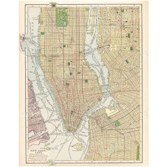 Old New York City Map Huge Vintage Historic 1910 New York City Nyc Old Antique Style Street Map city plan Fine Art Print Giclee Poster