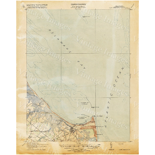 "Old Map of Delaware Bay 1918 Delaware Bay map Antique Map Restoration Hardware Style Map Cape Henlopen Chart map Nautical Map wall map art - 11"" x 14\"" inches [$14.44]"