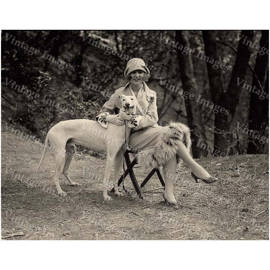 Vintage Miss America Black & White 1921 greyhound Photo of Margaret Gorman with greyhound dog Photograph fine art print wall home decor