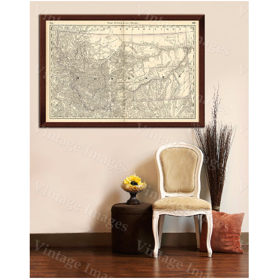 """Old Map of Montana Montana ART 1888 Antique Restoration Hardware Style Montana Wall map Vintage Montana map wall art home office decor - 16\"""" x 20\"""" inches [$17.00]"""