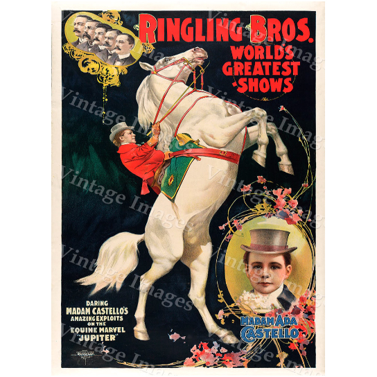 """Vintage Circus Poster 1899 Ringling Bros Circus greatest show on earth Carnival Poster Child's Game Room Fine Art Print home wall decor - 10\"""" x 15\"""" inches [$11.00]"""