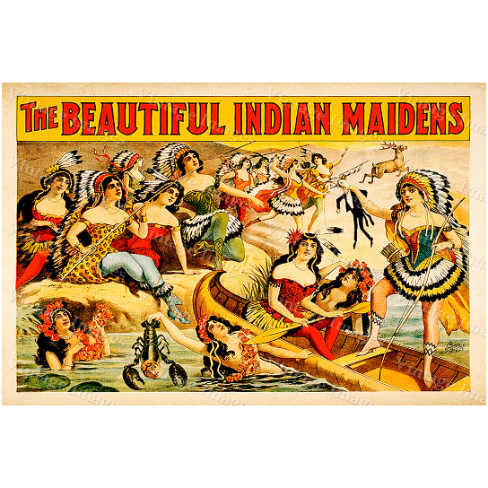 """vintage The Beautiful Indian Maidens vaudeville theater act Poster Fine Art Print Giclee home wall decor - 10\"""" x 14\"""" inches [$11.00]"""