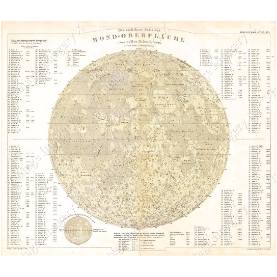 Old Map Of The Moon Huge Vintage Historic Perthes 1880 Old Antique Lunar Map Restoration Hardware style German Moon map Fine Art Print