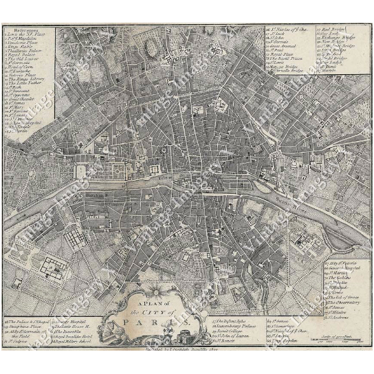 Large Vintage historic old world A city plan Street map of Paris France circa 1800 Fine Art Print Giclee Poster