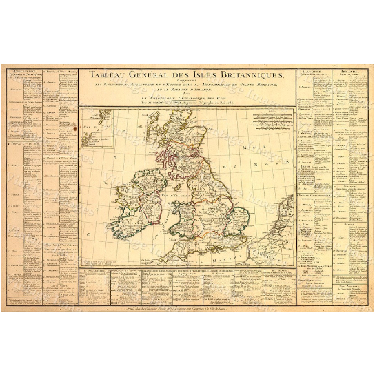 British Isles Scotland Map Large 1783 Vintage Antique Map of Western Europe Ireland Restoration Hardware Style wall decor historic old map