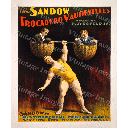 Vintage 1894 Sandow Strong Man Theater Act Poster Workout room art 30 X 42 Fine Art Print Giclee Home Wall Decor Exercise room