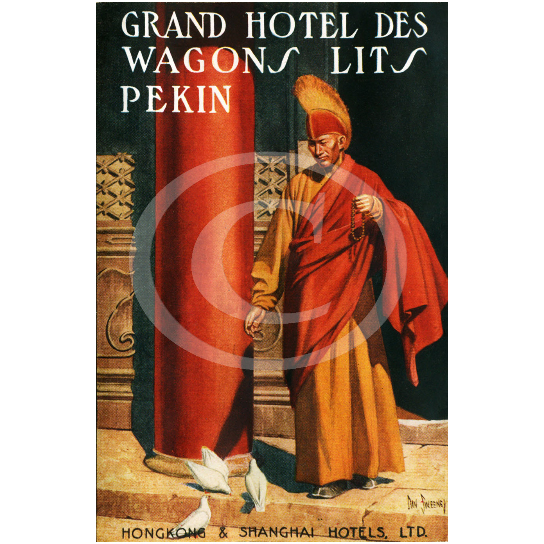 Vintage Dan Sweeney Grand Hotel Des Wagons Lits Pekin Hong Kong China luggage label Fine Art Print Giclee Poster
