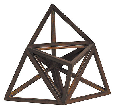 """Elevated Tetrahedron 3D Geometric Fire Wooden Model 8.5\"""" Polyhedron Home Accent 55b69a57a2771cb9688b646f"""