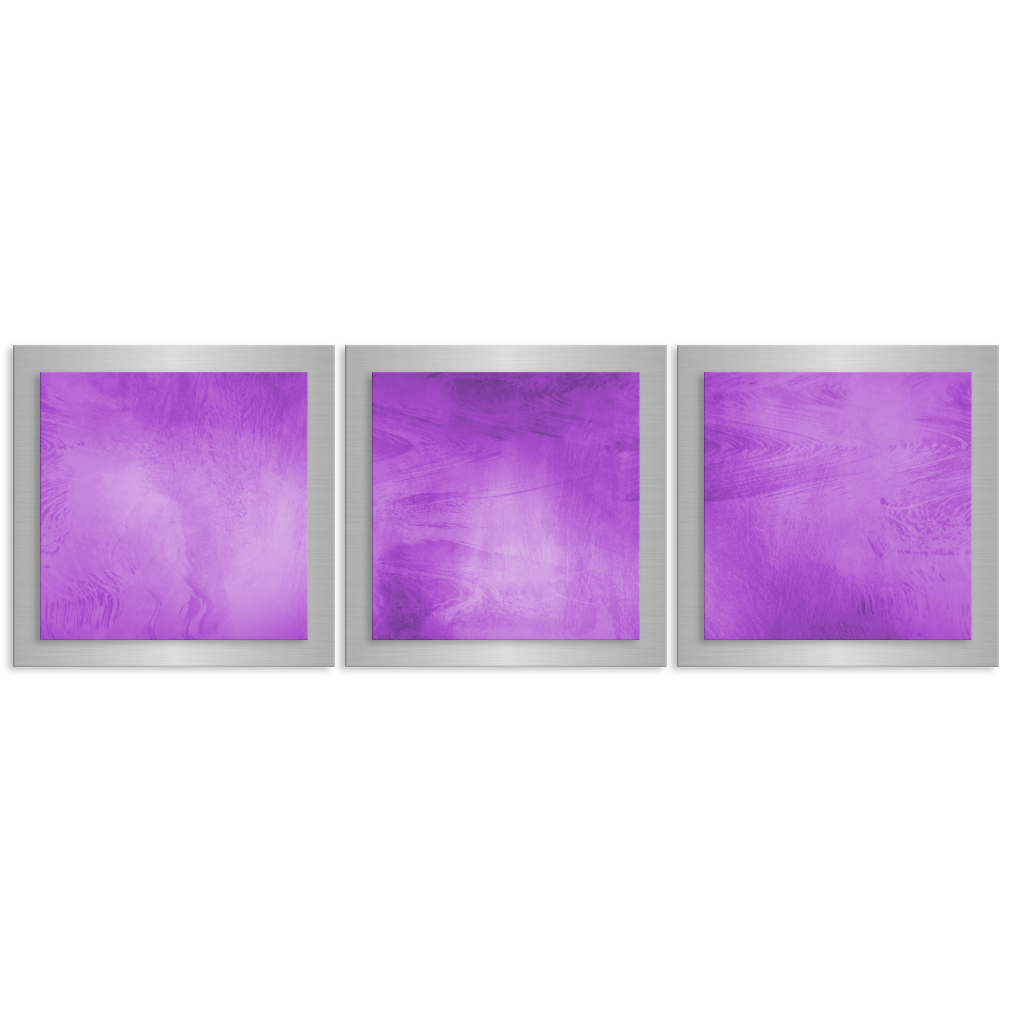 Unique Modern Metal Wall Artwork 'Violet Essence' - 38x12 in. - Contemporary Decor - Modern Metal Painting