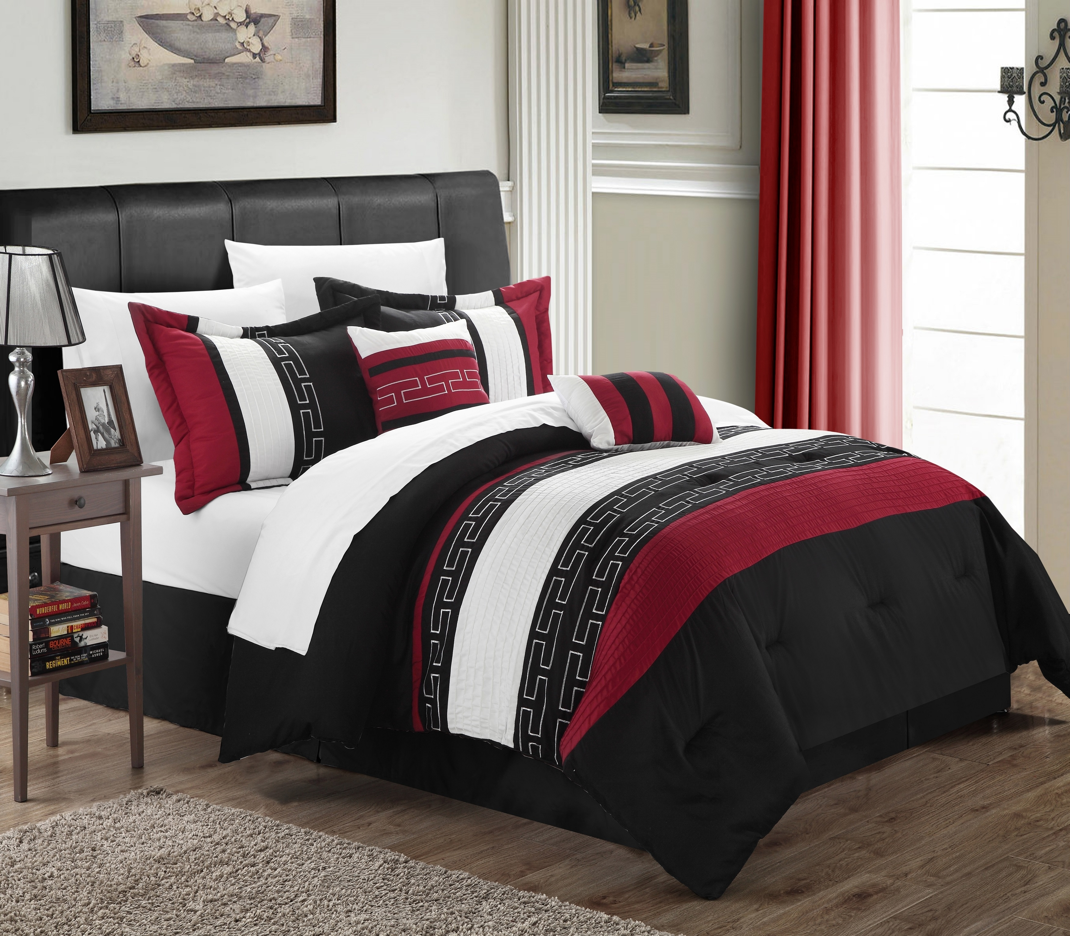 Chic Home Coralie 6-piece Comforter Set Hotel Collection - King, Black