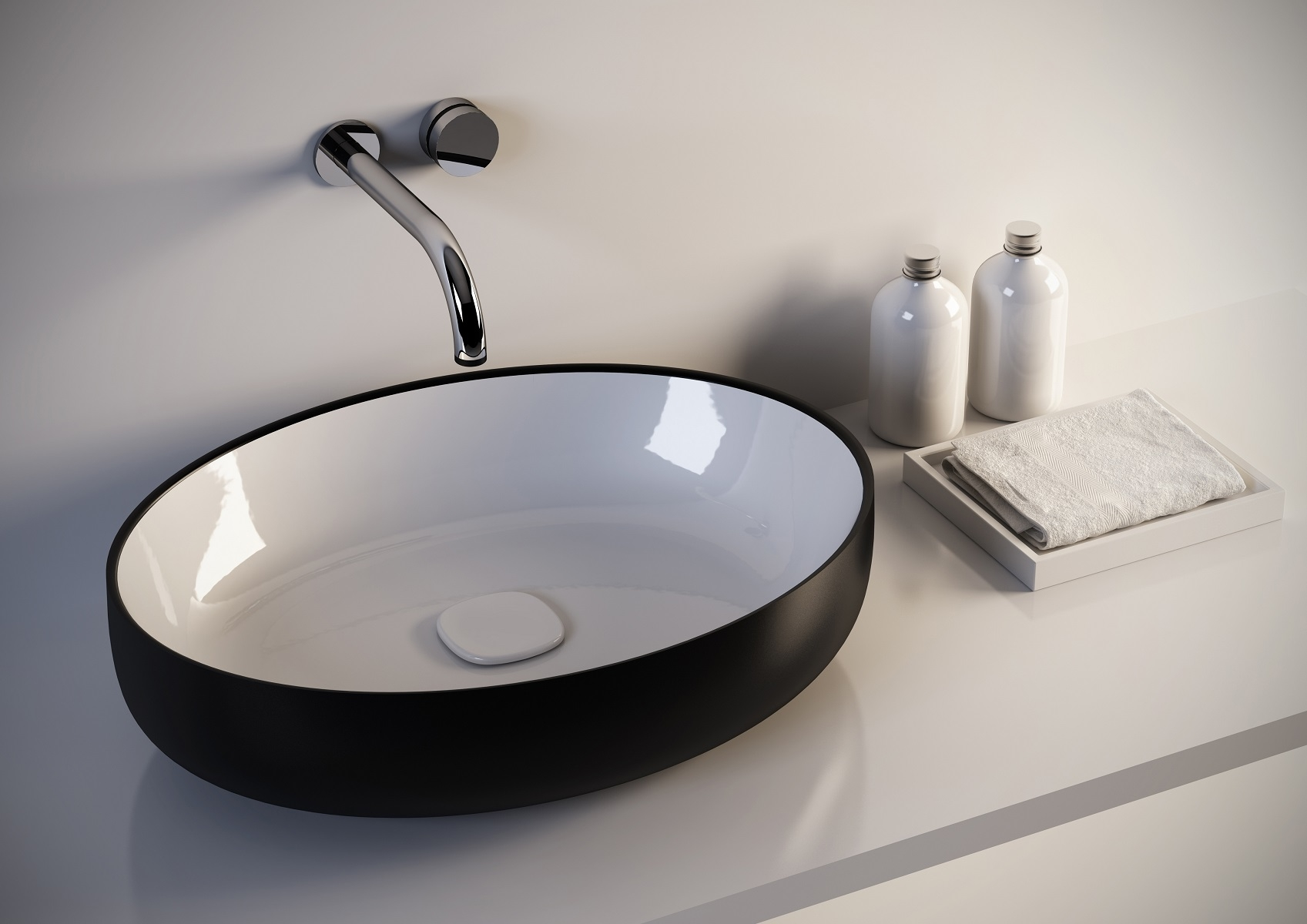 Metamorfosi-black-wht Oval Ceramic Bathroom Vessel Sink
