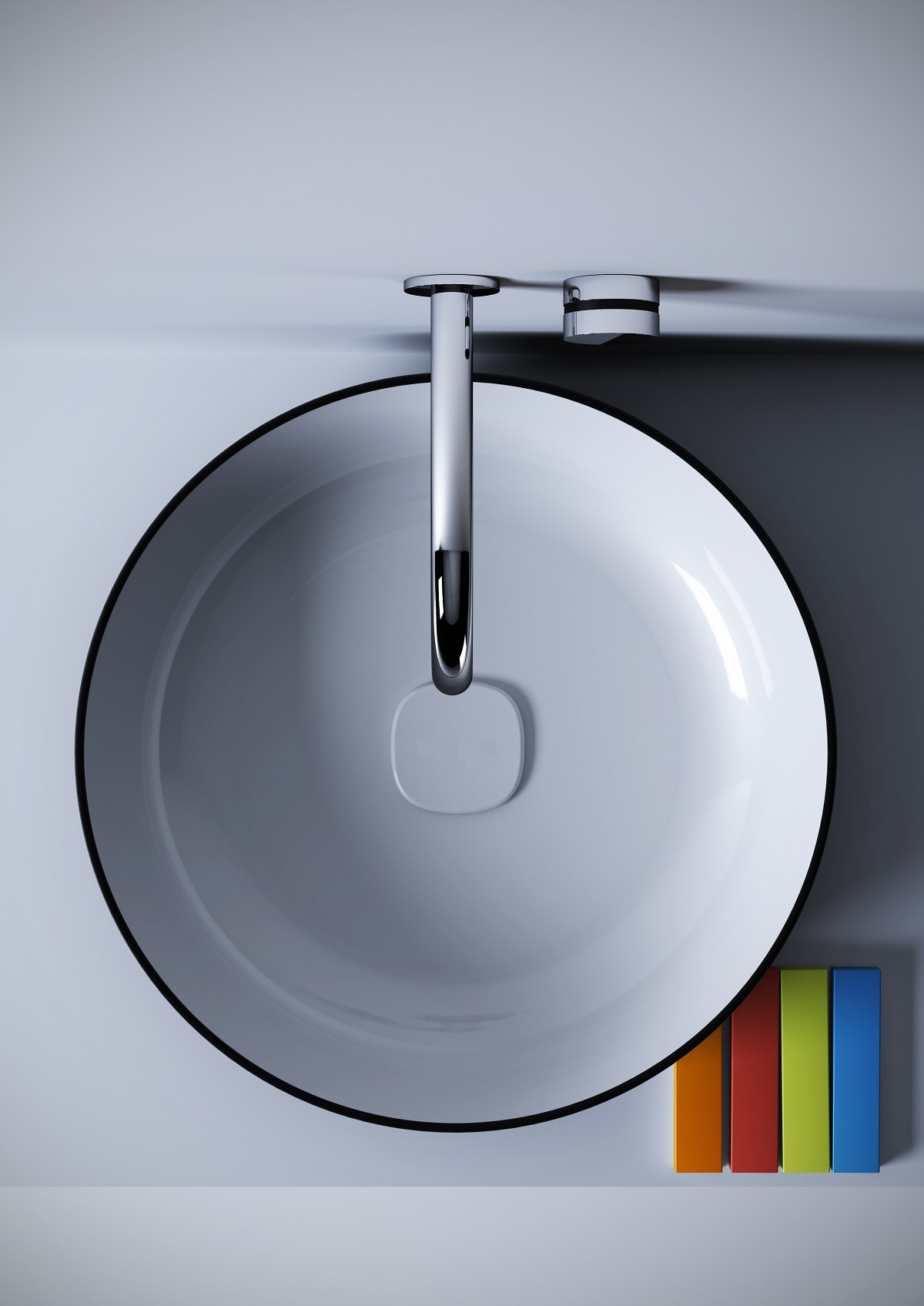 Metamorfosi-black-wht Round Ceramic Bathroom Vessel Sink