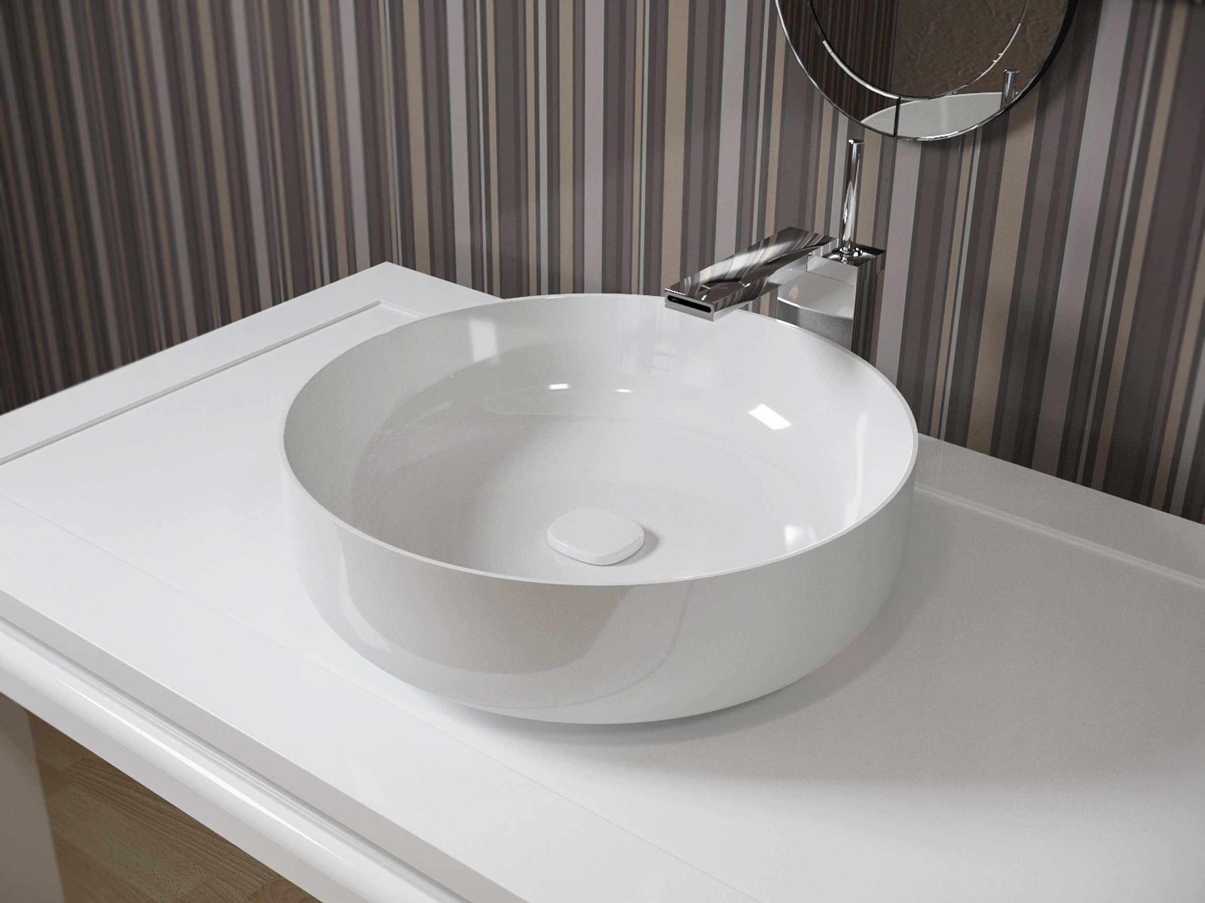 Metamorfosi-wht Round Ceramic Bathroom Vessel Sink