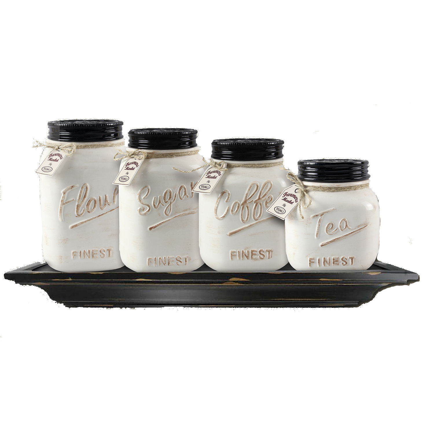 Set of 4 White Ceramic Mason Jars by ZallZo 570431578a3d6f0d0c8b46a0